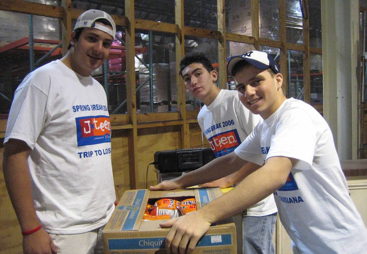 Packing food at a food pantry